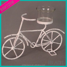 BS12-777 antique white small bicycle-shape home decorative metal candle holder