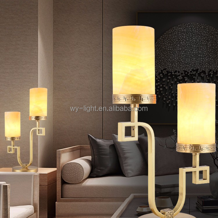Luxury retro noble marble table lamp with double head