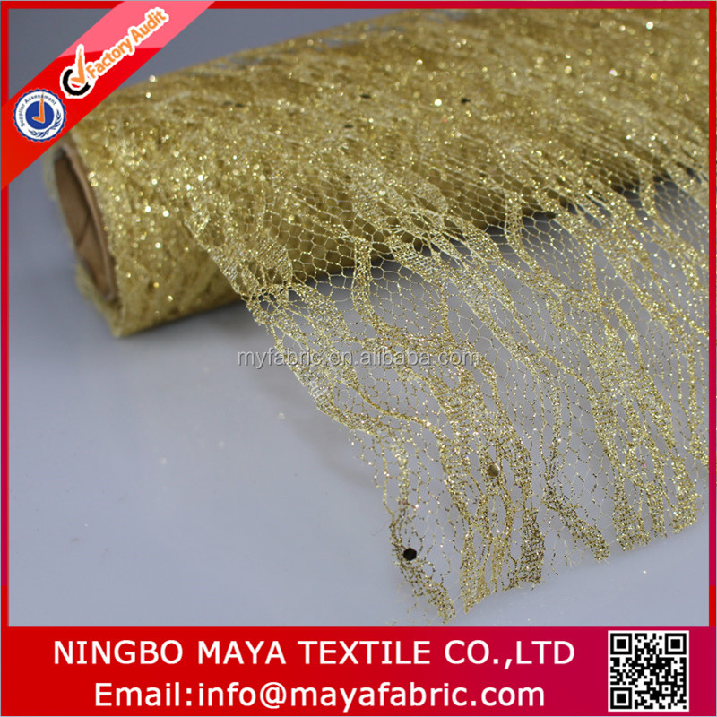 Gold color metallic lace mesh fabric for fresh flower pack