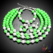 gold plated jewellery designs wholesale african wedding beads jewelry pure and fresh and beautiful green beads jewelry set