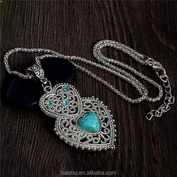 Women Long chain Necklace Zinc Alloy Stone Crystal Heart Pendant Necklace Jewelry turquoise necklacing jewelry