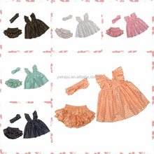 2015 Soft cotton knit clothes set baby toddler Swing Top ruffle bloomer polka dot girls swing set