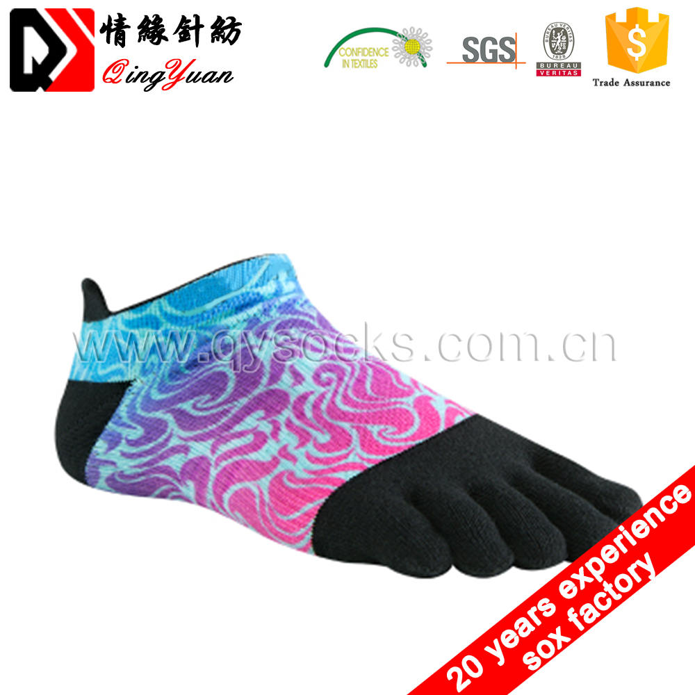 Socks Manufacture adults Crew Low Cut 5 toe exercise sublimated printing Casual ankle toe Socks