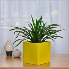 Hot sale yellow color ceramic square flower plant pot for indoor and outdoor use