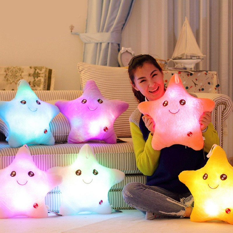 Colorful Body Pillow Star Glow LED Luminous Light Pillow Cushion Soft Relax Gift Smile 5 Colors Body Pillow Free Shipping