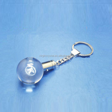 3d laser engraved crystal ball glass led light keychain