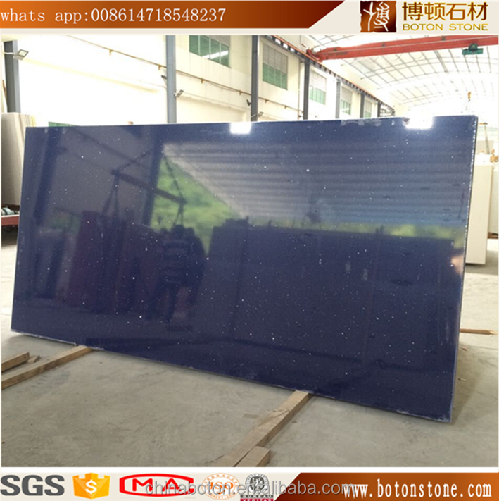 Factory Supply Wholesale Crystal Sparkle Mirror Black Artificial Quartz Stone Slab
