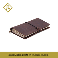 Leather Handmade Personalized Classic Genuine Refillable Pages Retro Leather Traveler's Journal Notebook Brown