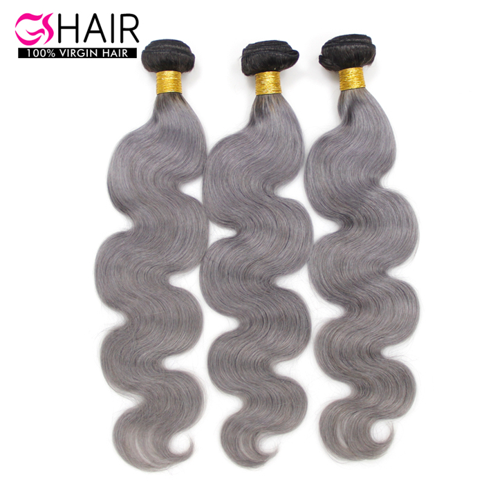 Fashion hair color and style body wave 3pcs/lot silver grey ombre hair extensions