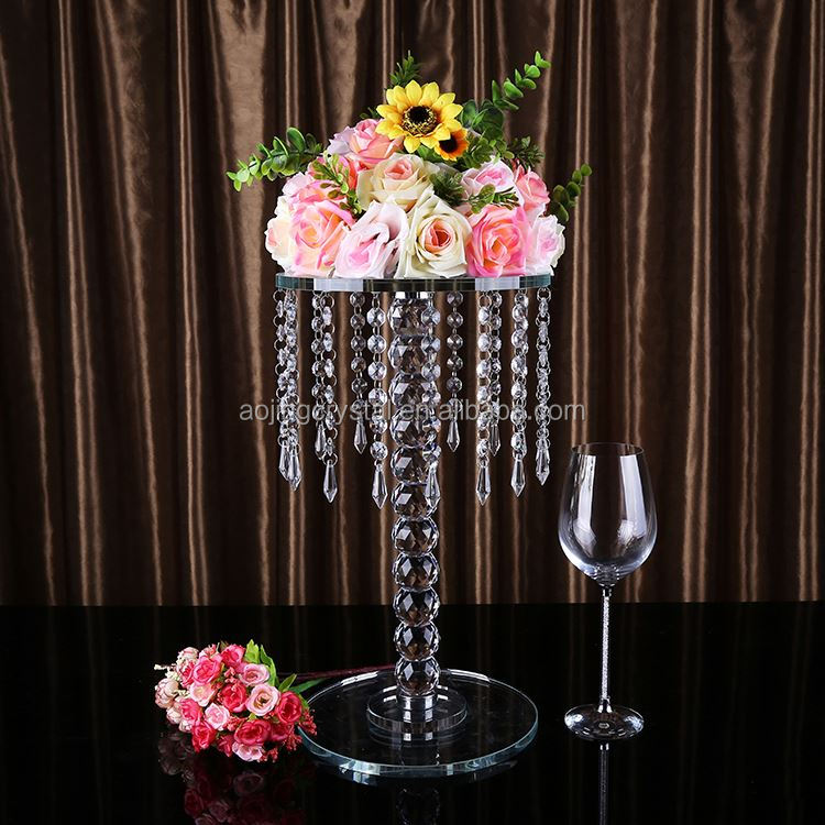 Latest arrival custom design crystal chandelier wedding cake stand with different size