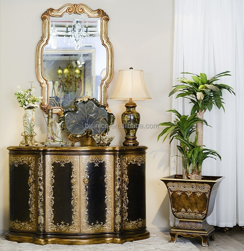 Exquisite Hand Painted Console Cabinet With Mirror, Retro Lacquer Gilding Arts Furniture, Vintage Home Decor Sideboard