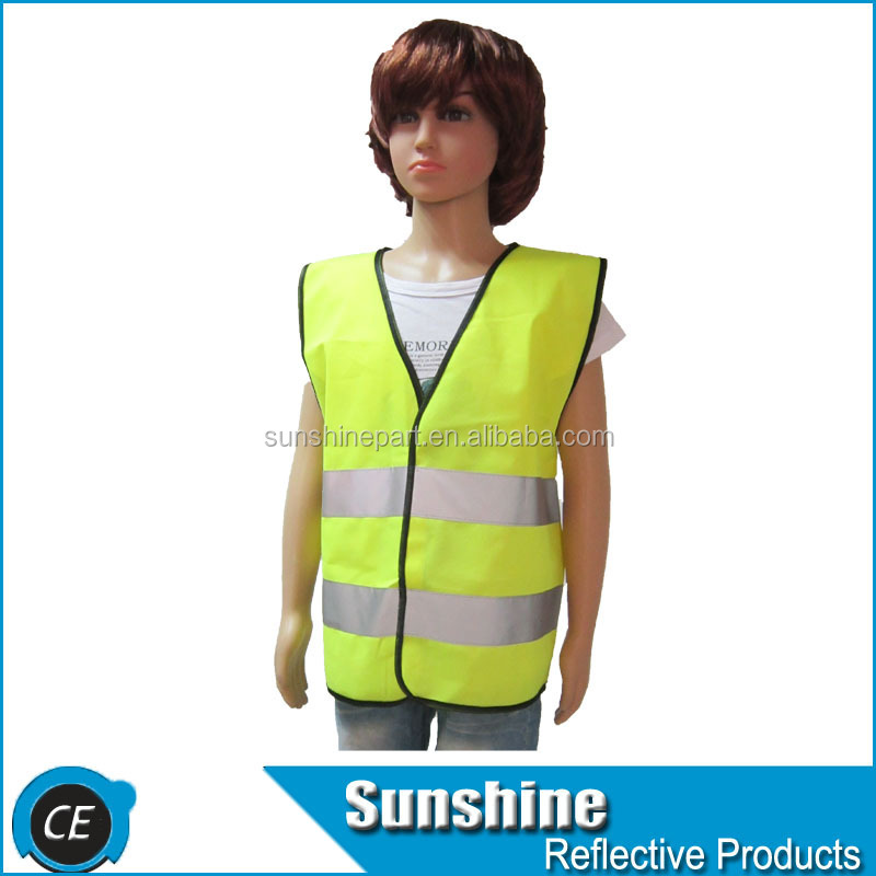 120gsm Knitted polyester reflective EN1150 hi vis vest for kids