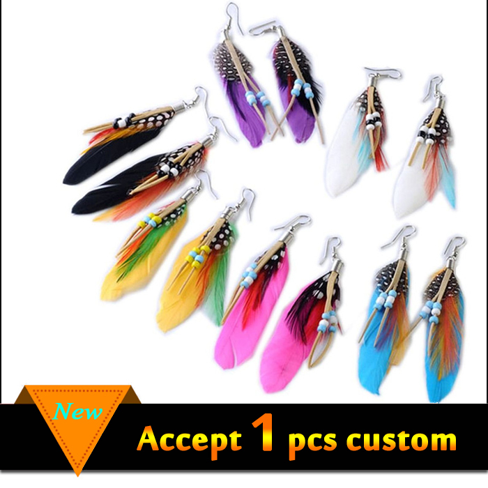 China wholesale long feather wood beads drop earrings for sale