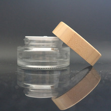 100ml glass jar for cosmetics cream empty jar in glass for glass jar with wooden top GJ-189B