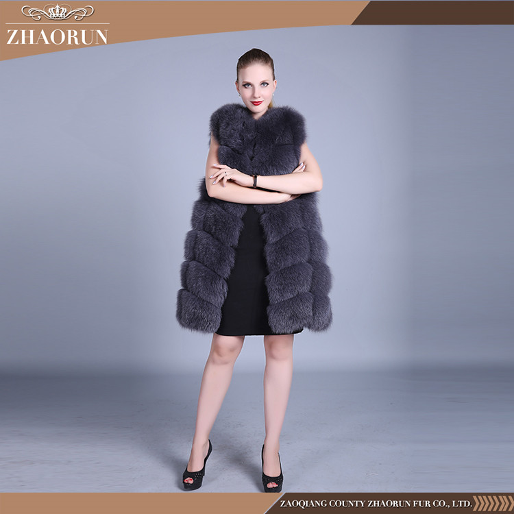 Wholesale China Fox Fur Vest / Dyed Gray Fox Fur Jacket