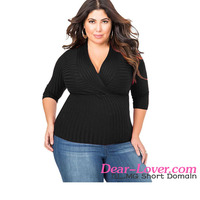 New Arrival Black Deep V Fitted Rubbed Knit Plus Size Women Tops