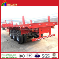 tri-axle front head guard 50tons 40' 20' container flatbed paltform flat bed high bed side siding wall log post loader trailer