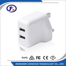 mobile/tablet use 5V 3A dual USB port 3 pin plug adapter