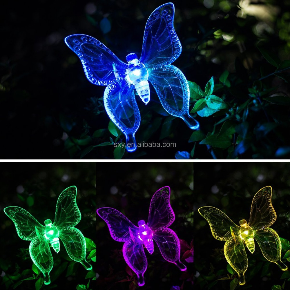 Solar Garden Stake Light Multi-color Changing Solar Powered Decorative Lighting Hummingbird Butterfly Dragonfly for Outdoor Path