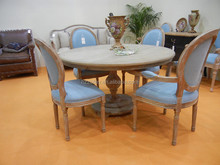 6 seater dining table chinese style round dining table oak wood MDF top veneer tables