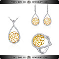 SNS012 925 Sterling Silver Yellow Crystal Jewelry Set With Necklace Ear Studs And Ring
