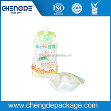 Durable OEM customized self standing juice drink spout pouch bag