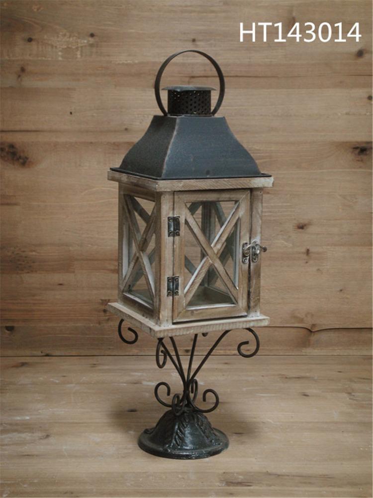 Garden handicraft decorative window shape wooden lantern for Wooden garden lanterns