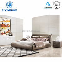 Apartment Bedroom Furniture Solid Wood Frame Leather Beds
