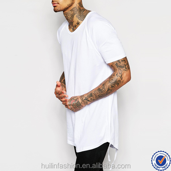 100% cotton crew neck mens custom t shirt wholesale china scoop hem and taping longline plain t shirt men