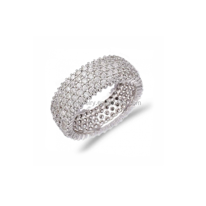 Fashion Wedding Party Jewelry Design Luxury Micro Pave White Zircon Ring