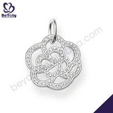 Smart rhodium plating flower silver tin cup pearl necklace