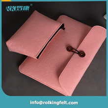 Universal 13 inch felt laptop sleeve with bottom leather