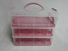 3 Tier Cupcake Holder & Cake Carrier Container - Store up to 36 Cupcakes or 3 Large Cakes