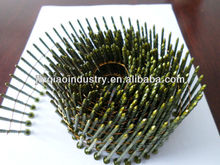 FOB Wuhu, Nanjing,Shanghai terms or CIF, Short Delivery time,Yellow Coating, Screw Shank, Wire Pallet Coil Nails of 2.5x57mm