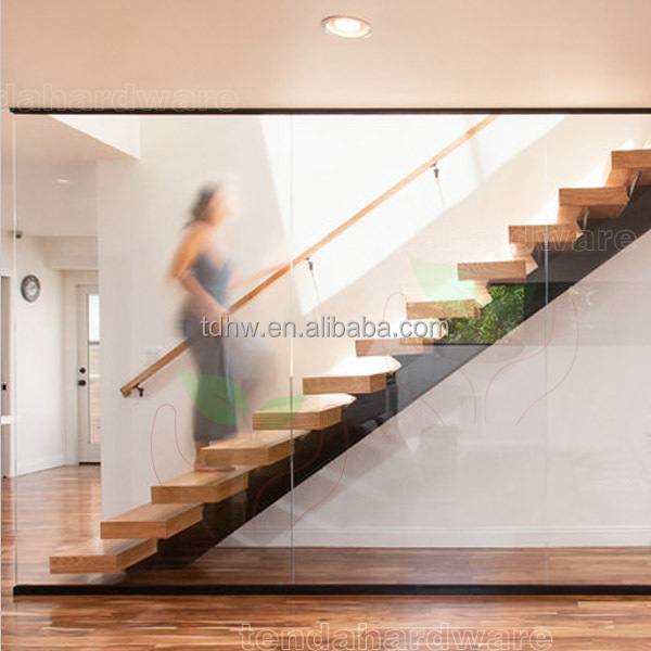 Australia standard internal structure support straight Stairs with timber stairs glass balustrade