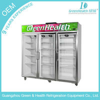 Supermarket glass door display chiller triple door refrigerator showcase