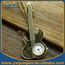 Hot Sale Retro Antique Pocket Watch Guitar Quartz Watches Cheap Guitar Pocket Watch Chain Key Ring Necklace Pendant Gift