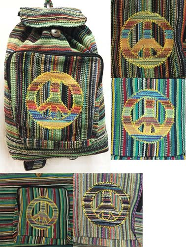 Wholesale Nepal Handmade Peace Sign <strong>Backpacks</strong> Assorted