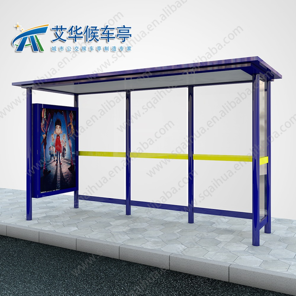outdoor bus stop shelter with advertising light box