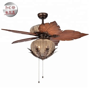 Decorative Modern Fancy Energy Saving chandelier ceiling fan Remote Control Ac Dc Motor Crystal Ceiling Fan With Light