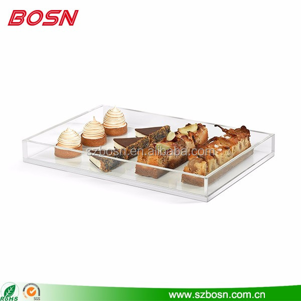 Manufactory customized clear lucite acrylic food serving tray wholesale