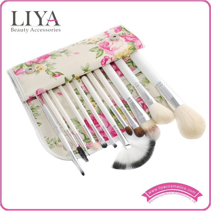 12pcs Superior Soft white cosmetic brushes with Colorful Leather Bag