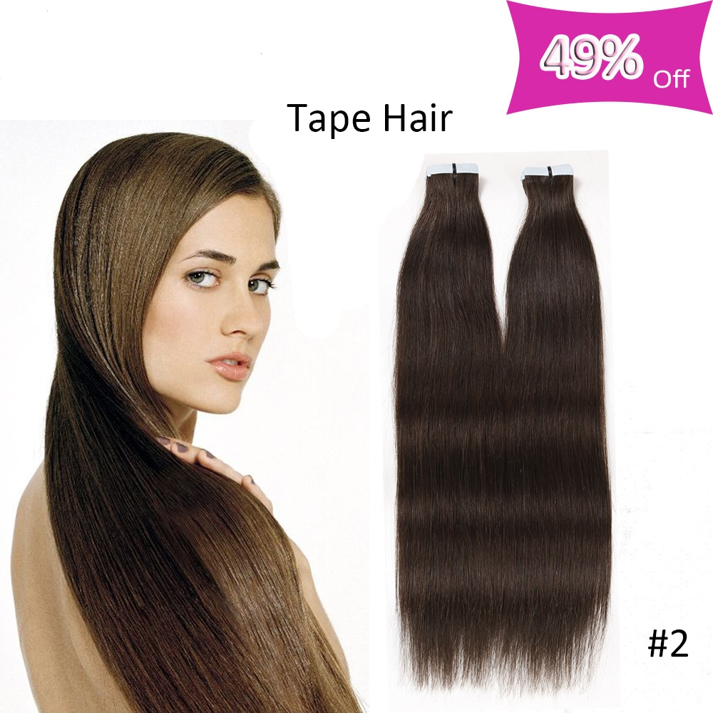 20Pcs/Pack Tape In Remy Hair Extensions 50g Peruvian Silky Straight Double Drawn Skin Weft