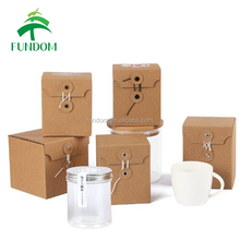 accept customize high quality low MOQ stock diy gift brown kraft cup packing box glass bottle box paper coffee mug box
