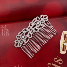 Fancy silver plated wedding accessories small hair combs bridal tiara 4 with comb