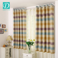 Stripe linen window curtain polyester printing lovly curtain
