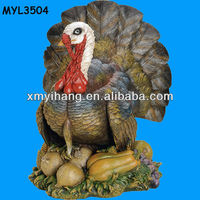 Decorative Thanksgiving Turkey Colorful Resinic Figurine