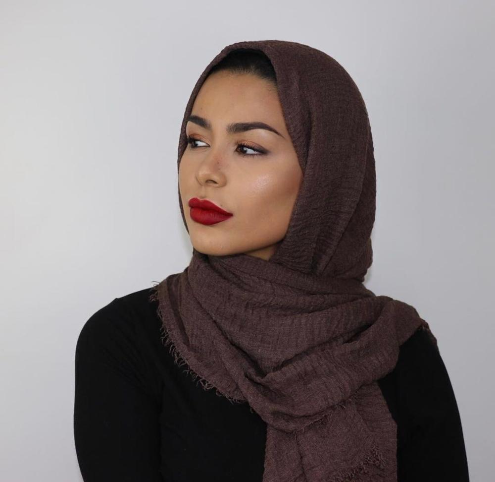 Camel Premium Scarf New Shades Soft Cotton Viscose Hijab Large Size Plain Crimp Scarves