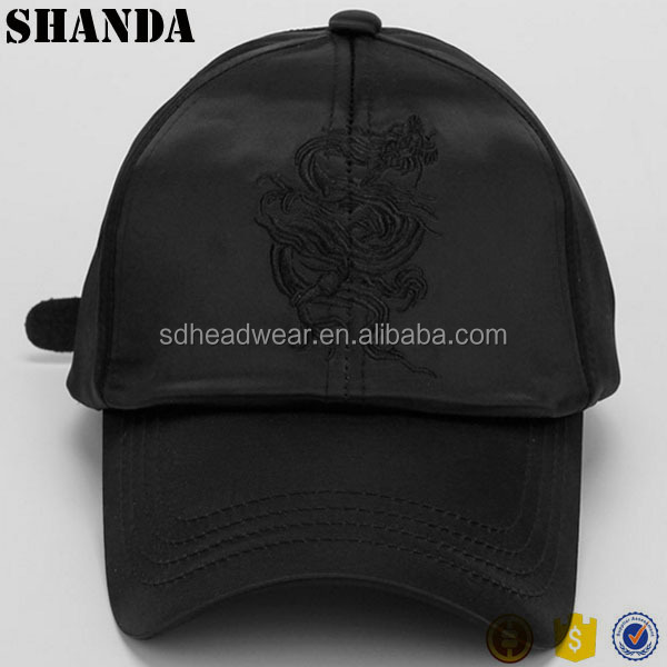Design Your logo dad hat embroidery custom black satin baseball cap