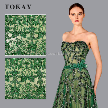 Green color high-end dresses lace fabric beaded tulle lace fabric